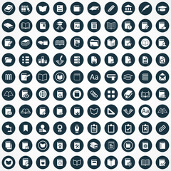100 books icons.