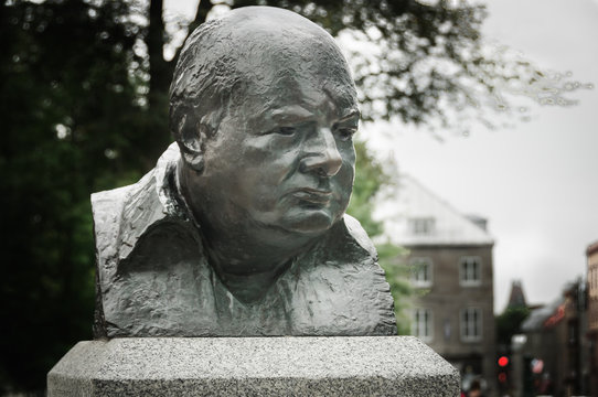 Winston Churchill bronze sculpture, n Quebec city, Quebec