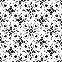 Abstract eye seamless black and white pattern