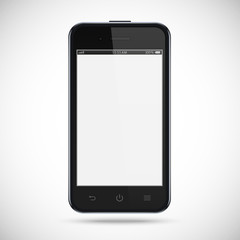 Realistic black phone with a gray touch screen isolated