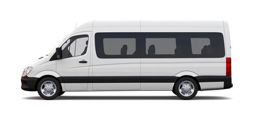 White minibus - side view