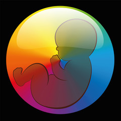 Baby Rainbow Circle Symbol Black