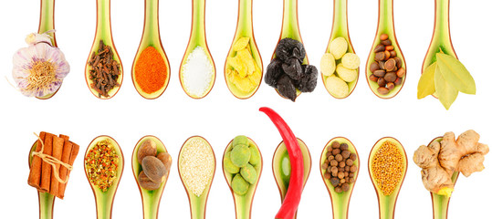Collection of spices in spoons on a white background