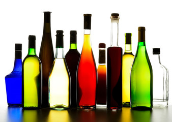 Collection wine and liqueur bottles
