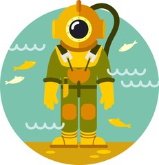Diver in old diving suit on underwater background