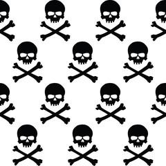 Black and white skulls background