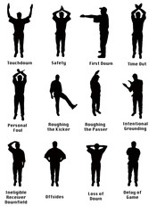 Silhouette of an NFL referee signalling common football fouls
