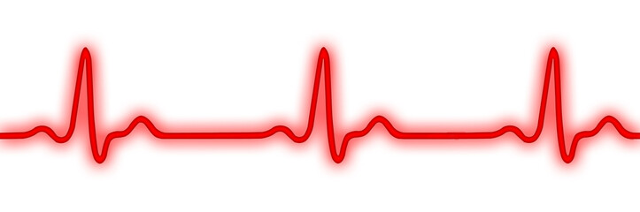 ECG, EKG or electrocardiogram (heart monitor) isolated on white