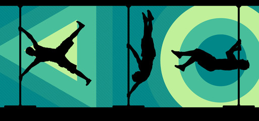 Silhouettes of male pole dancers on abstract background.