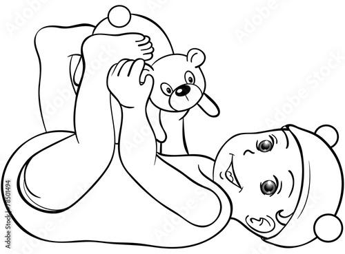 Baby Spielt Mit Teddy Ausmalbild Stockfotos Und Lizenzfreie