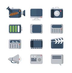 Flat Media Icons set, vector