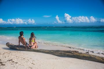 Young Couple in love at Akumal near Playa del Carmen and Cancun,
