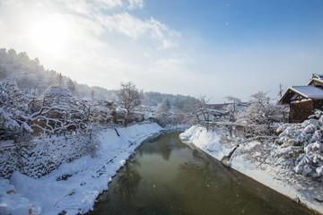 Wall Mural - Snow is falling in Takayama, Japan.