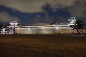Wall Mural - Kanazawa castle at night in Kanazawa, Japan.