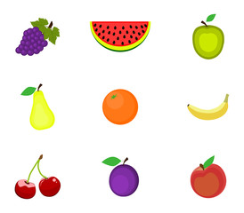 Set of fruits on a white background