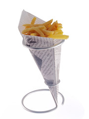 french fries in newspaper cone