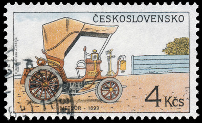 Stamp printed in Czechoslovakia shows Historic Motor Cars