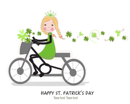 Cute girl riding a bicyle with Happy St. Patrick's Day card