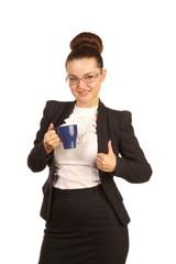 Portrait of pretty woman with blue teapot