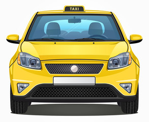 Vector Yellow Taxi Car - Front view | Visible interior version