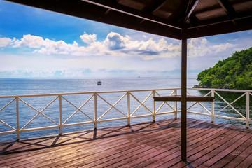Balcony porch sea view in Trinidad and Tobago island