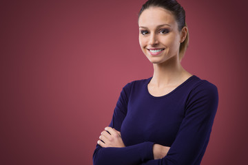 Smiling woman in violet t-shirt