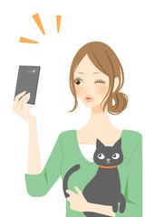 セルフィー 女性と猫