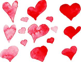 Set of watercolor hearts, vector element