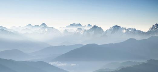Panorama of high mountains in Himalaya