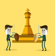 Two warrior businessman fighting for a golden chess. vector