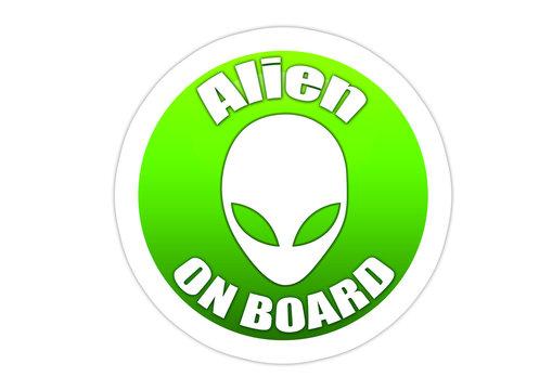 Alien on Board - Sticker / Autoaufkleber