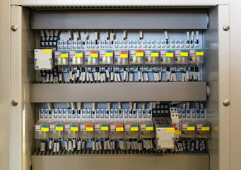Relay panel with relays and wires