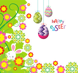 easter eggs and bunny background beautiful