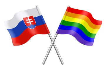 Flags: Slovakia and rainbow