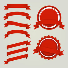 Set of red paper ribbons, labels and badges