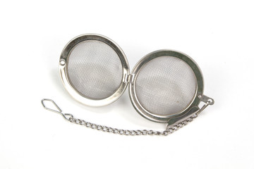 Open tea strainer isolated on whited background