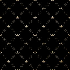 Seamless vector gold pattern with king crowns