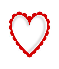 Red heart scalloped frame on white background