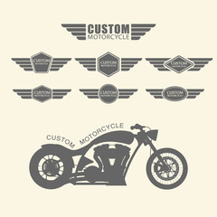 Set of vintage custom motorcycle labels,vector