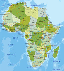 Highly detailed editable political map. Africa.