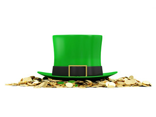 Green Leprechaun Hat with Golden Coins for St. Patrick's Day