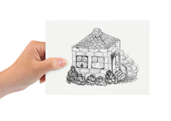 Hand with drawing house