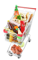 Poster Shopping cart full with various groceries isolated on white