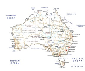High detailed Australia road map with labeling.