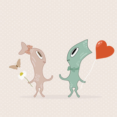 Cute cartoon two monsters with butterfly
