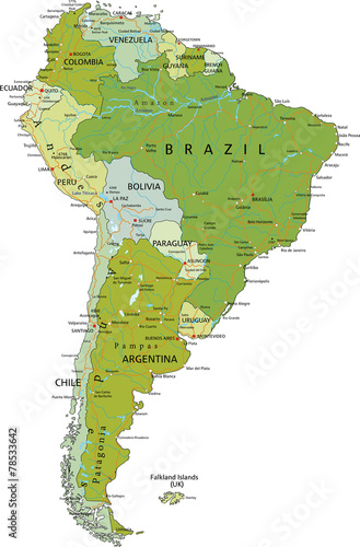 Highly detailed editable political map  South America