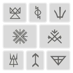 set of monochrome icons with Slavic pagan symbols
