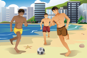 Men playing soccer on the beach