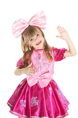 little girl dressed as doll. living doll. Isolated