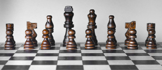 Set of chess pieces in a row horizontal photo.